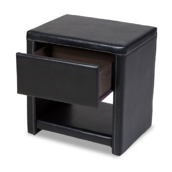 Prado One Drawer Faux Leather Bedside Table